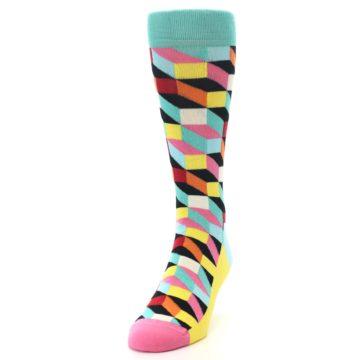 Image of Teal Bright Multi Color Optical Men's Dress Socks (side-2-front-06)