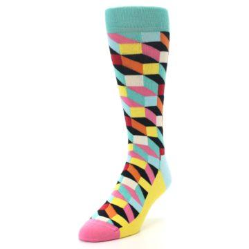Image of Teal Bright Multi Color Optical Men's Dress Socks (side-2-front-07)