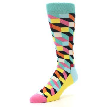 Image of Teal Bright Multi Color Optical Men's Dress Socks (side-2-front-08)