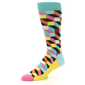Image of Teal Bright Multi Color Optical Men's Dress Socks (side-2-09)