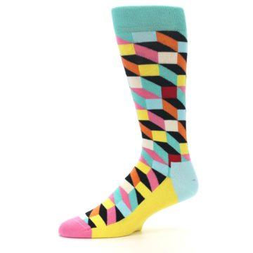Image of Teal Bright Multi Color Optical Men's Dress Socks (side-2-10)