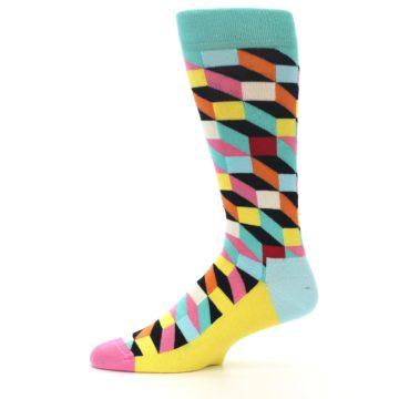 Image of Teal Bright Multi Color Optical Men's Dress Socks (side-2-11)