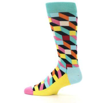 Image of Teal Bright Multi Color Optical Men's Dress Socks (side-2-12)