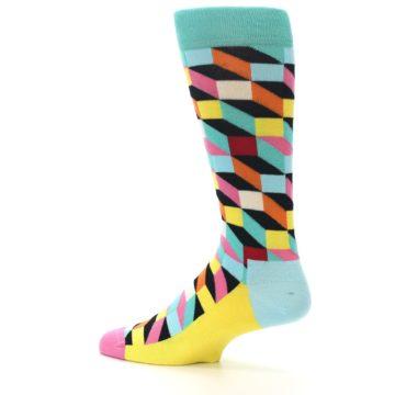 Image of Teal Bright Multi Color Optical Men's Dress Socks (side-2-13)