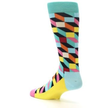 Image of Teal Bright Multi Color Optical Men's Dress Socks (side-2-back-14)