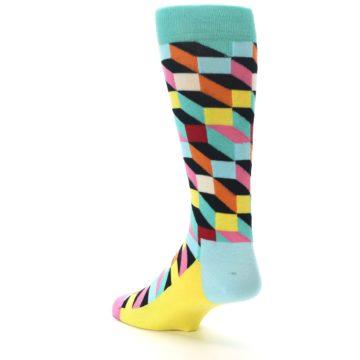 Image of Teal Bright Multi Color Optical Men's Dress Socks (side-2-back-15)