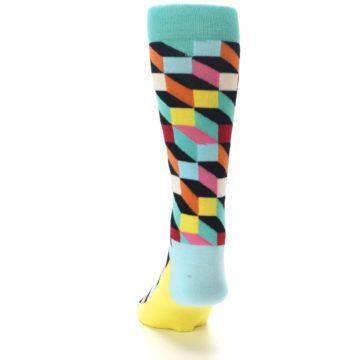 Image of Teal Bright Multi Color Optical Men's Dress Socks (back-17)