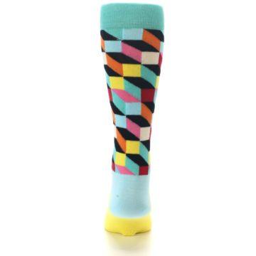 Image of Teal Bright Multi Color Optical Men's Dress Socks (back-18)