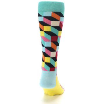 Image of Teal Bright Multi Color Optical Men's Dress Socks (back-19)