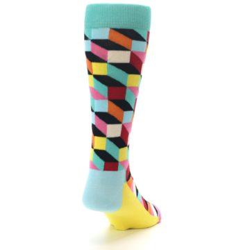 Image of Teal Bright Multi Color Optical Men's Dress Socks (side-1-back-20)