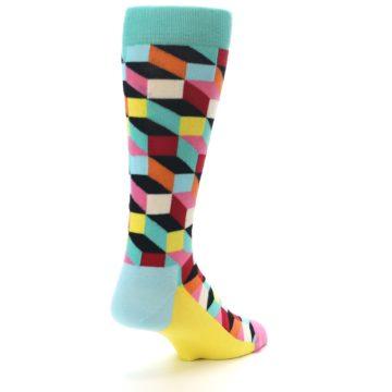 Image of Teal Bright Multi Color Optical Men's Dress Socks (side-1-back-21)