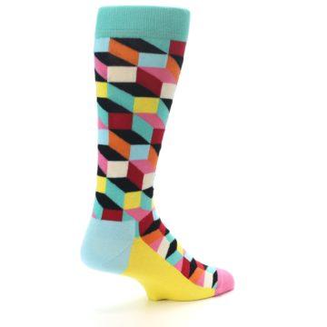 Image of Teal Bright Multi Color Optical Men's Dress Socks (side-1-back-22)