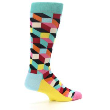 Image of Teal Bright Multi Color Optical Men's Dress Socks (side-1-23)