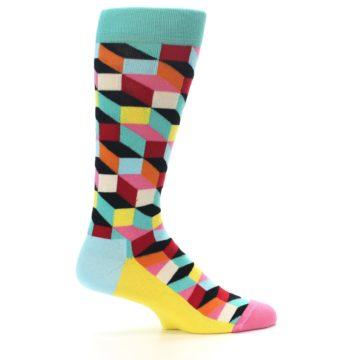 Image of Teal Bright Multi Color Optical Men's Dress Socks (side-1-24)