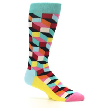Image of Teal Bright Multi Color Optical Men's Dress Socks (side-1-25)