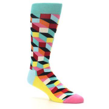 Image of Teal Bright Multi Color Optical Men's Dress Socks (side-1-26)