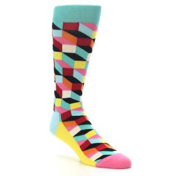 Image of Teal Bright Multi Color Optical Men's Dress Socks (side-1-27)