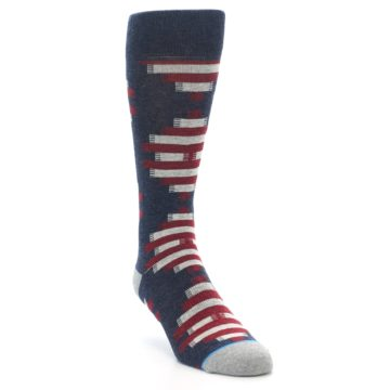 Image of Grey Red White Partial Stripe Men's Casual Socks (side-1-front-02)
