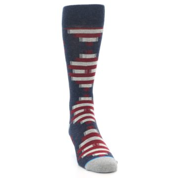Image of Grey Red White Partial Stripe Men's Casual Socks (side-1-front-03)