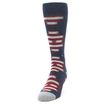 Image of Grey Red White Partial Stripe Men's Casual Socks (side-2-front-06)