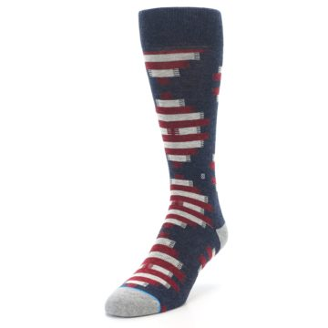 Image of Grey Red White Partial Stripe Men's Casual Socks (side-2-front-07)