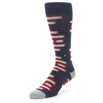 Image of Grey Red White Partial Stripe Men's Casual Socks (side-2-front-08)