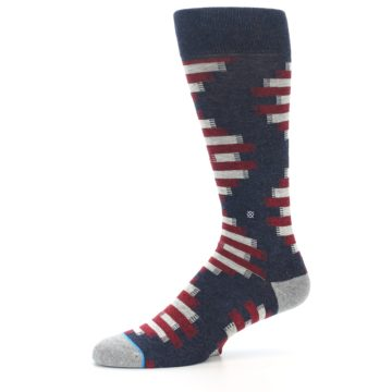 Image of Grey Red White Partial Stripe Men's Casual Socks (side-2-10)