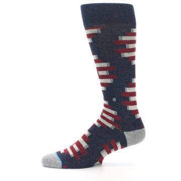 Image of Grey Red White Partial Stripe Men's Casual Socks (side-2-11)