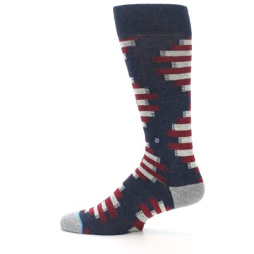 Image of Grey Red White Partial Stripe Men's Casual Socks (side-2-12)