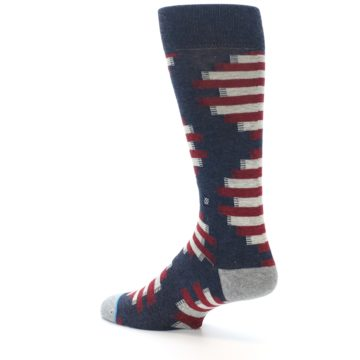 Image of Grey Red White Partial Stripe Men's Casual Socks (side-2-back-14)