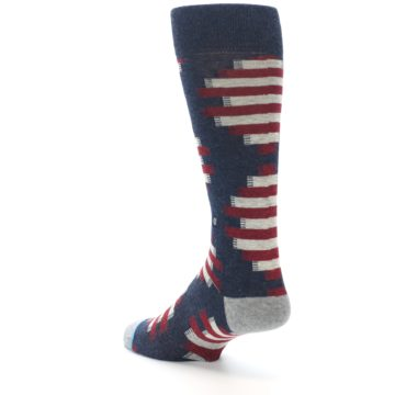 Image of Grey Red White Partial Stripe Men's Casual Socks (side-2-back-15)