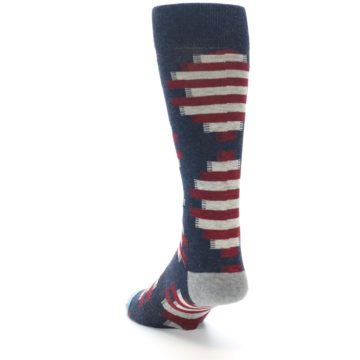 Image of Grey Red White Partial Stripe Men's Casual Socks (side-2-back-16)
