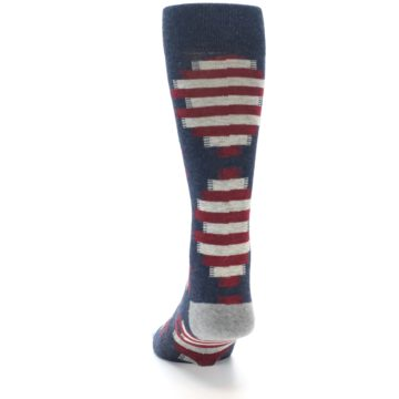 Image of Grey Red White Partial Stripe Men's Casual Socks (back-17)