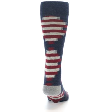 Image of Grey Red White Partial Stripe Men's Casual Socks (back-19)