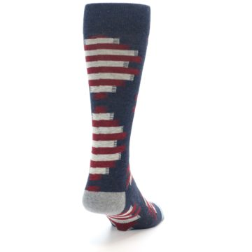 Image of Grey Red White Partial Stripe Men's Casual Socks (side-1-back-20)