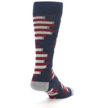 Image of Grey Red White Partial Stripe Men's Casual Socks (side-1-back-21)