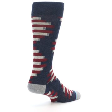 Image of Grey Red White Partial Stripe Men's Casual Socks (side-1-back-22)