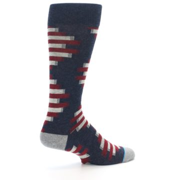 Image of Grey Red White Partial Stripe Men's Casual Socks (side-1-23)