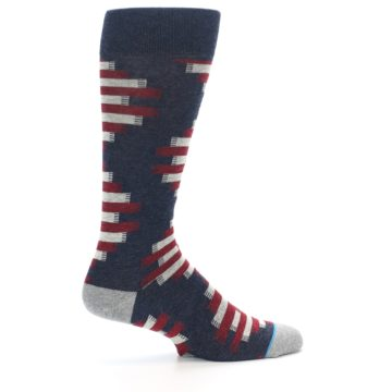 Image of Grey Red White Partial Stripe Men's Casual Socks (side-1-24)