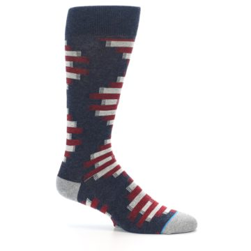 Image of Grey Red White Partial Stripe Men's Casual Socks (side-1-25)