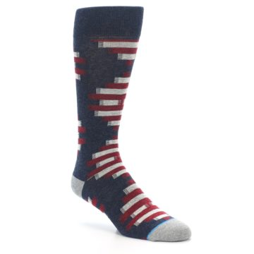 Image of Grey Red White Partial Stripe Men's Casual Socks (side-1-27)