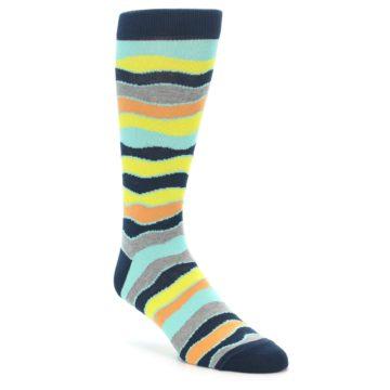 Image of Bright Multi Color Wave Stripe Men's Dress Socks (side-1-front-01)
