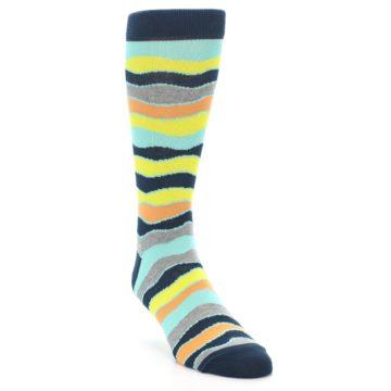 Image of Bright Multi Color Wave Stripe Men's Dress Socks (side-1-front-02)