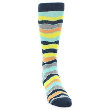 Image of Bright Multi Color Wave Stripe Men's Dress Socks (side-1-front-03)