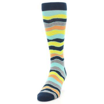 Image of Bright Multi Color Wave Stripe Men's Dress Socks (side-2-front-06)