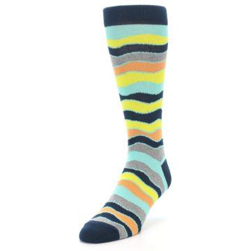Image of Bright Multi Color Wave Stripe Men's Dress Socks (side-2-front-07)