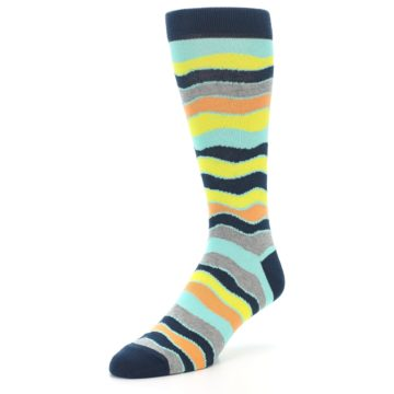 Image of Bright Multi Color Wave Stripe Men's Dress Socks (side-2-front-08)