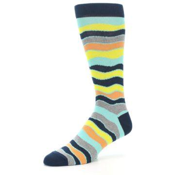Image of Bright Multi Color Wave Stripe Men's Dress Socks (side-2-09)