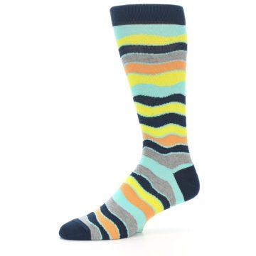 Image of Bright Multi Color Wave Stripe Men's Dress Socks (side-2-10)