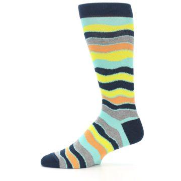 Image of Bright Multi Color Wave Stripe Men's Dress Socks (side-2-11)